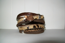 Armband leer bruin/koeienprint
