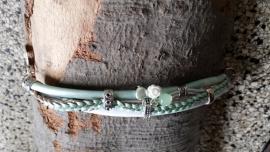 Armband leer zacht groen