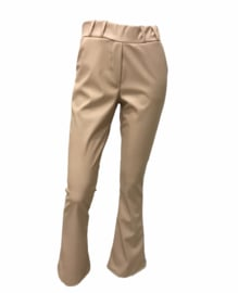 Leather flairpants beige