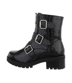 Bickerboots croco dubbele rits