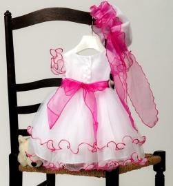 Sevva baby feestjurk wit/fuchsia met hoed en broche