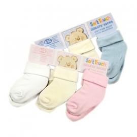 Soft Touch setje baby sokjes - wit/creme/blauw - 6 /12 mnd