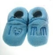 Soft Touch baby slofje I love mum blauw