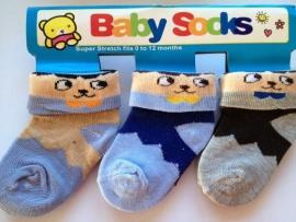 Babysokjes model B set van 3 paar van 0 tot 12 mnd