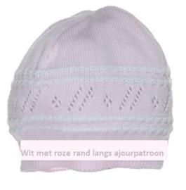Zacht gebreid baby mutsje - Polly - 9 mnd - wit met roze rand