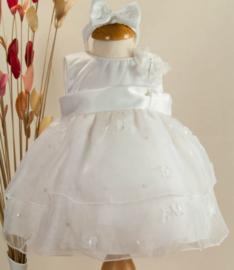 Doopjurk gelegenheidsjurk baby feestjurk Sevva Ivory met vlinders en haarband