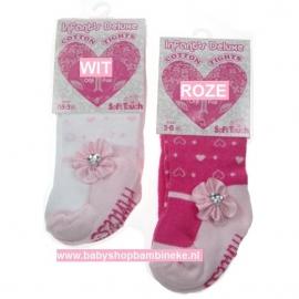 Baby maillot van Soft Touch met hartjes en satijnen rozet