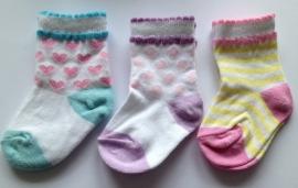 3 paar babysokjes in pastel kleuren