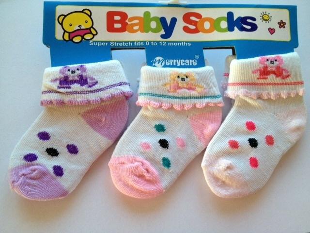 Babysokjes model C set van 3 paar van 0 tot 12 mnd