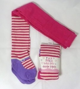 Tick Tock baby maillot fuchsia met strepen en paars ballerina voetje