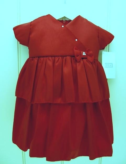 baby gelegenheidsjurk Polly Bordeaux rood met kapmouwtje mt 6 - 12 mnd