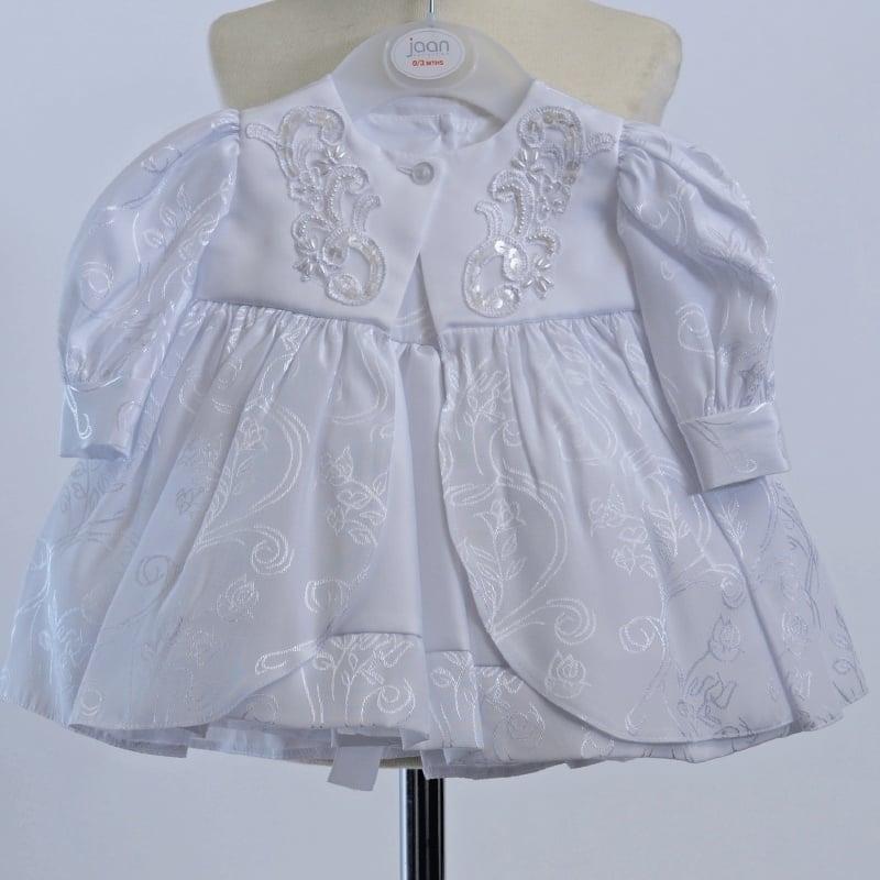 Doopjurk / baby gelegenheidsjurk met mantel en hoedje in wit satijn 3 - 6 mnd