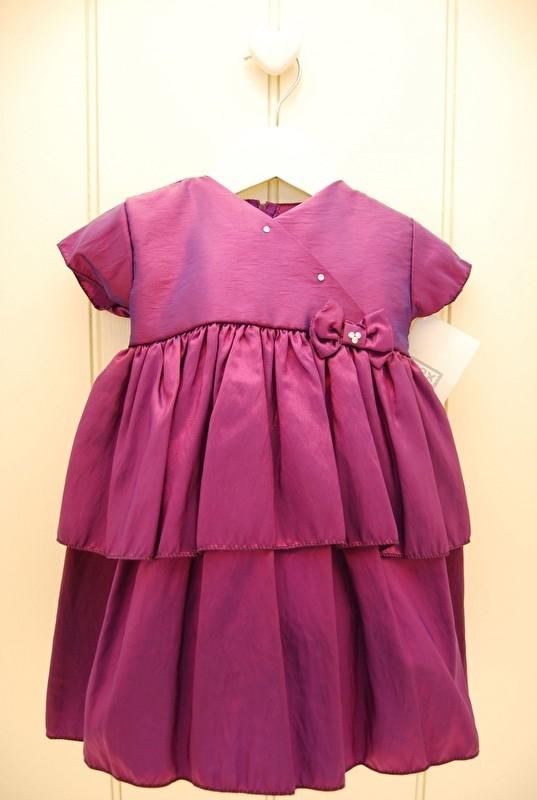 baby gelegenheidsjurk Polly Purple met kapmouwtje mt 6 - 12 mnd
