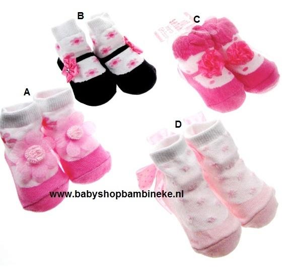 Baby sokje in ballet schoentjes model van Soft Touch in cadeau zakje