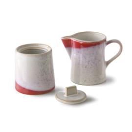 70's milk jug & sugar pot set frost