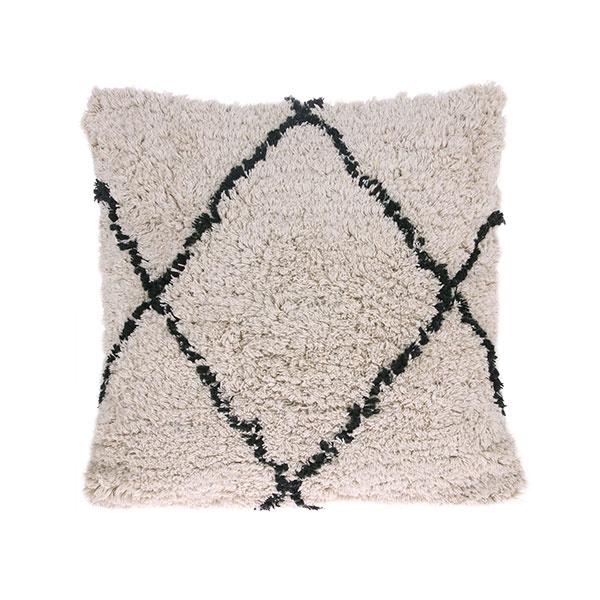 cotton diamond cushion cream/black (50x50)