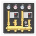 Compacte Hydraulische module voor twee individuele CV-kringen DN20