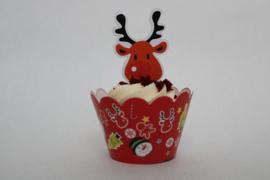 Kerst cupcake wikkel met Topper motief 1