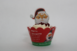 Kerst cupcake wikkel met Topper motief 2