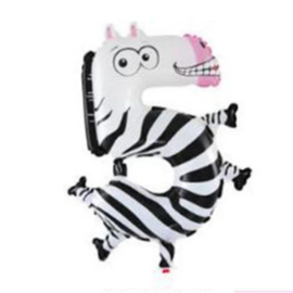 Cijfer 5 Folie Ballon Zebra