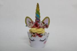 Unicorn cupcake wikkel met topper