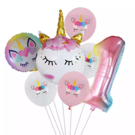 Unicorn  Ballonnen  Set 1 jaar
