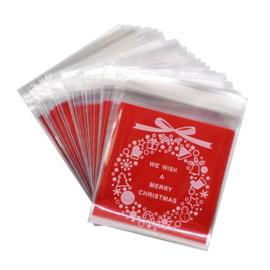 Merry christmas krans rood snoepzakje