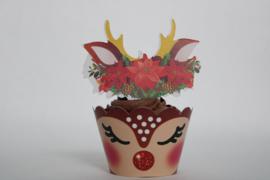Kerst  Cupcake Wikkel Met Topper