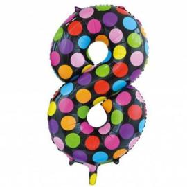 Confetti Cijfer Folie Ballonnen Nummer  8