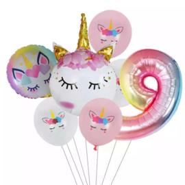 Unicorn Ballonnen Set 9 jaar