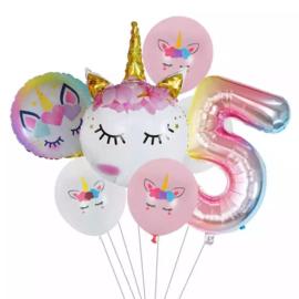 Unicorn Ballonnen Set 5 jaar
