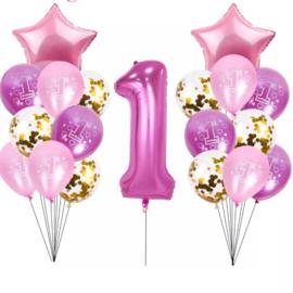 Ballonnen Set 1 jaar Meisje
