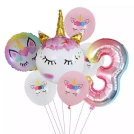 Unicorn Ballonnen Set  3 jaar