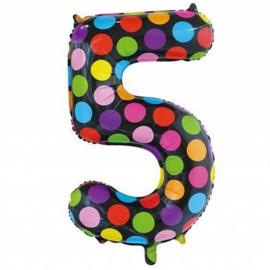 Confetti Cijfer Folie Ballonnen Nummer 5