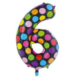 Confetti Cijfer Folie Ballonnen Nummer  6