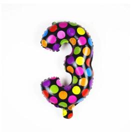 Confetti Cijfer Folie Ballonnen Nummer 3