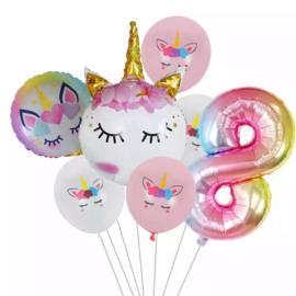Unicorn Ballonnen Set 8 jaar