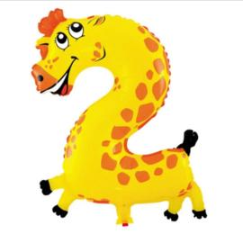 Cijfer 2 Folie Ballon Giraffe