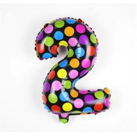 Confetti Cijfer Folie Ballonnen Nummer 2
