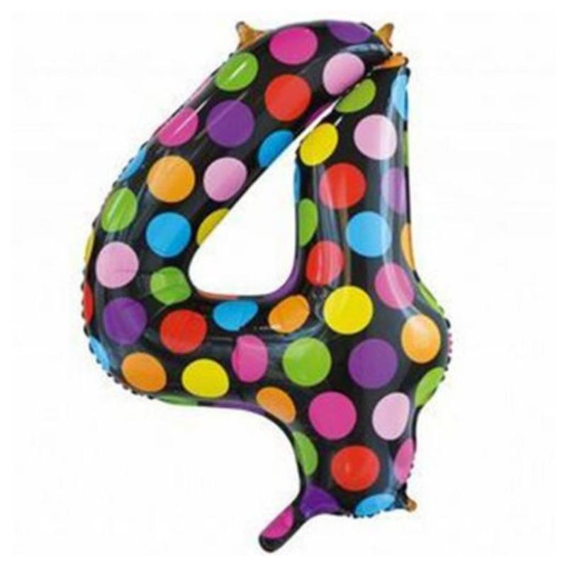 Confetti Cijfer Folie Ballonnen Nummer 4