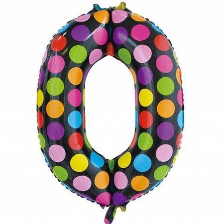 Confetti Cijfer Folie Ballonnen Nummer 0