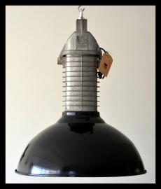 Zeer zeldzame zwarte emaille industriële Philips lamp HDK ,  collectorsitem in mooie staat! (nog 2 beschikbaar)