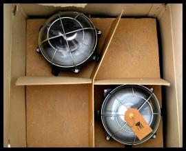 Industriële wandlamp, plafondlamp korflamp, bakeliet l/ glas.  (34 beschikbaar)
