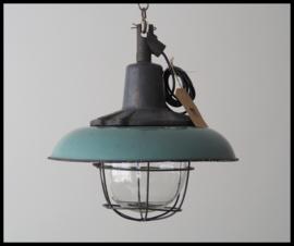 TOPSTUK! Zeldzame mooie kooilamp, fraaie zeegroene kleur!