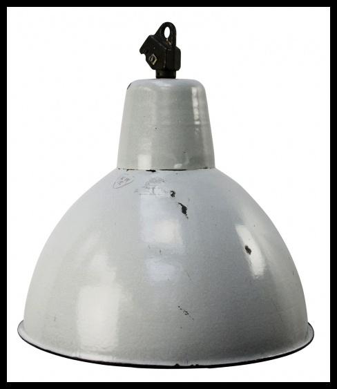 Grote stoere grijs emaille industriële lamp. zeldzaam model (3 beschikbaar)