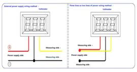 Inbouw voltmeter 0-300V DC Rood