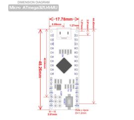 Arduino Micro Atmega-32U4-MU HID Controller Compatible