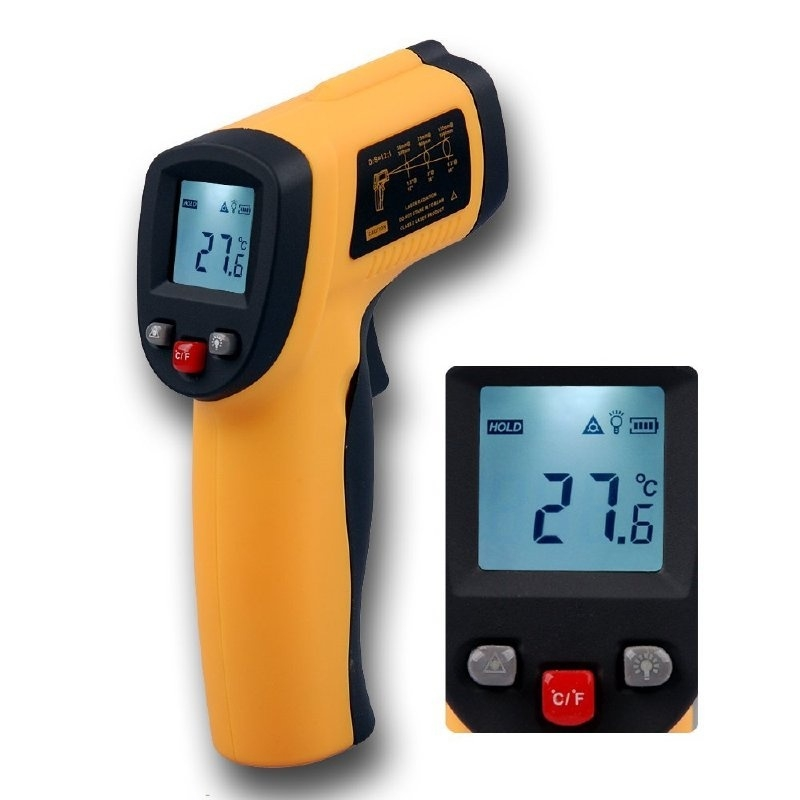 IR Thermometer -50C tot 450C Inclusief 9V Duracell batterij