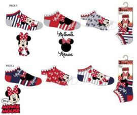 Minnie Mouse Sneakersokken - 3 paar - Maat 23 t/m 34