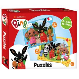 Bing Konijn 2 in 1 Puzzel - 2 x 12 stukjes